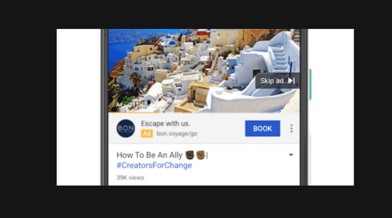 Google call-to-action video ad extension