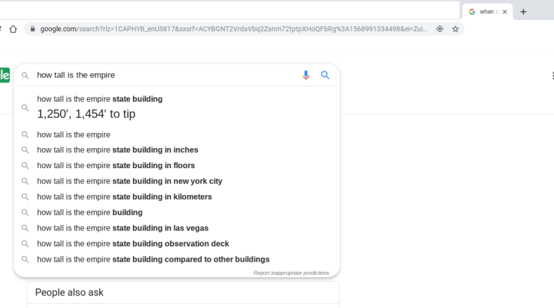 Google Chrome address bar query answers
