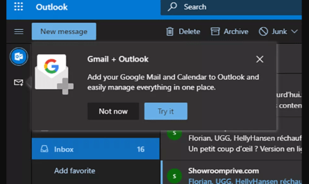 Microsoft integrating Google services into Outlook