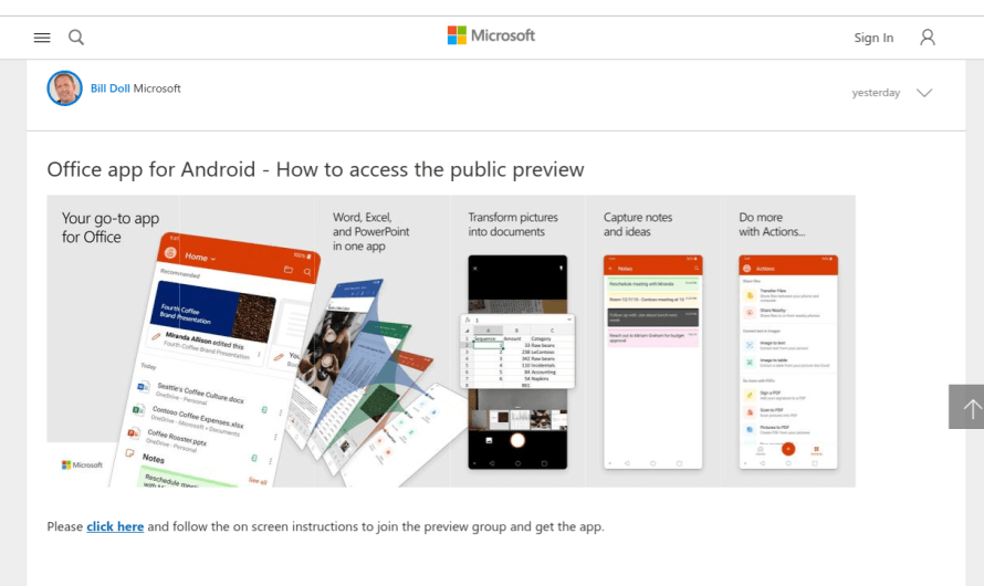 Microsoft's Latest Preview of its Office App Combines Word, Excel, and Powerpoint