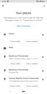 Google Assistant Your Places weather and traffic checks screenshot