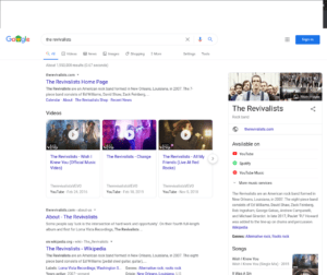 Google search directing people to YouTube Music