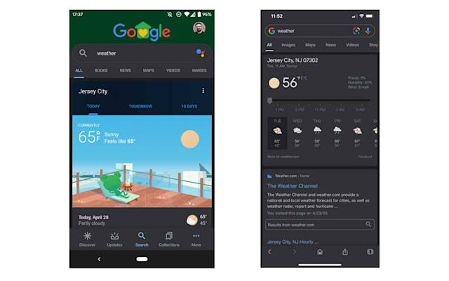 Google Brings a Dark Theme to its Mobile Search App for Android 10, iOS 12, and iOS 13