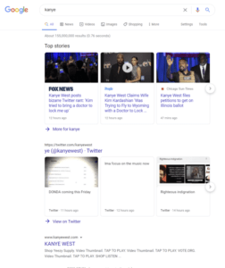 Google search page Twitter carousel