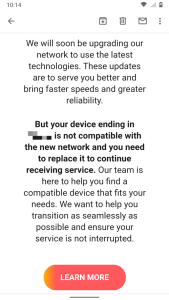 misleading att email urging wireless customers to upgrade their devices