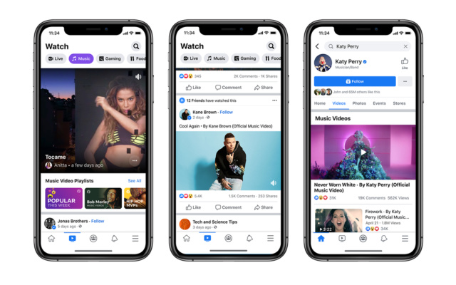Facebook Adds Official Music Videos to its News Feed and Watch Sections