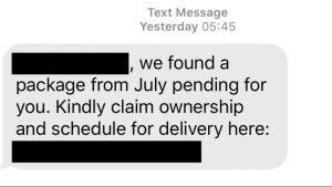 smishing scam text message