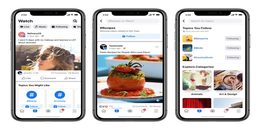 Facebook Introduces Topics, along with What's Happening and Featured Sections in Watch