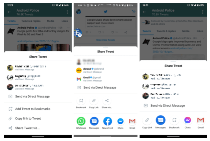 new Android share sheets for Twitter