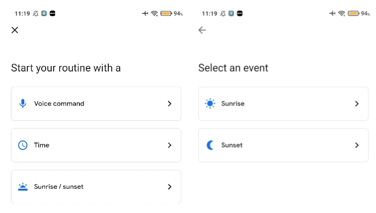 Google Assistant sunrise and sunset routines