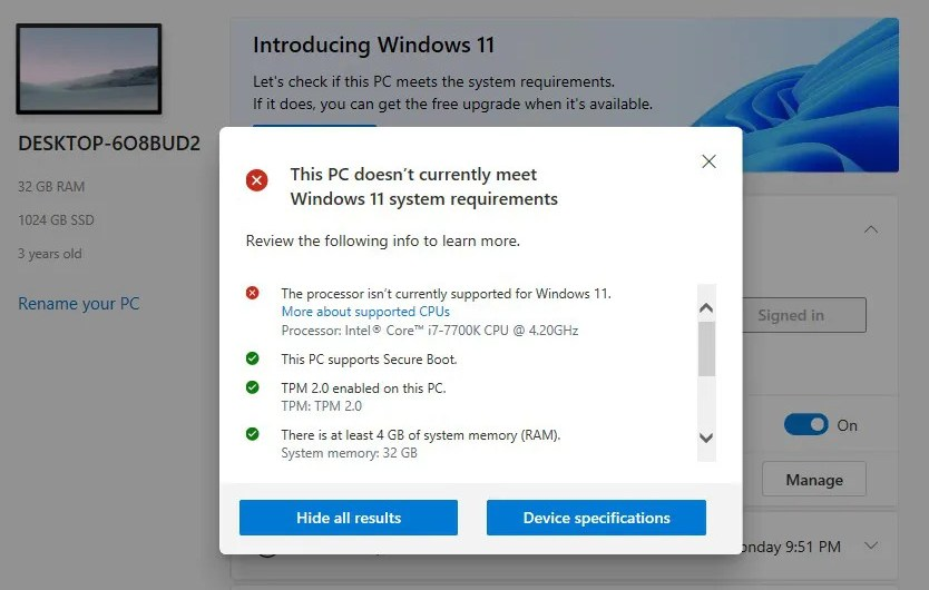 Windows 11 will Run on Older PCs but Might Require Users to Sign a Waiver