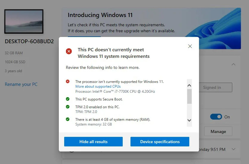 Microsoft's PC Health Check App Warns about Unsupported Hardware for Windows 11