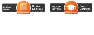 Certificats Hubspot inbound et content marketing Xavier Degraux