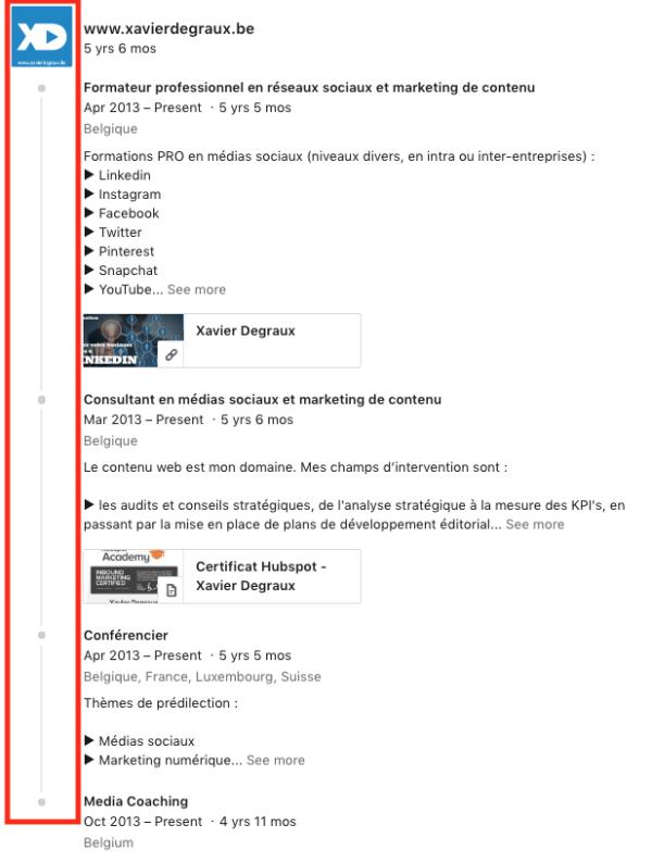 Linkedin expérience regroupement