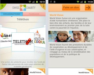 L'application Swiss Charity.