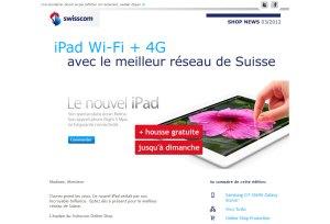 Le nouvel iPad d'Apple qui n'est pas compatible avec le réseau 4G de Swisscom...