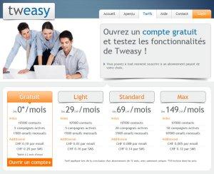 Tweasy: les différents tarifs pour la Suisse.