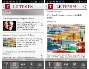 Le Temps sur Android et iOS.