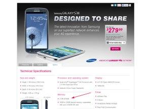 Le Samsung Galaxy S3 américain avec 2Go de mémoire vive (RAM)...