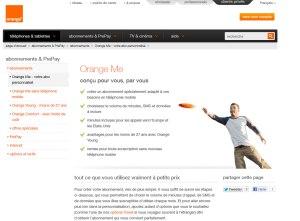 Orange Me sur le nouveau site de l'opérateur.