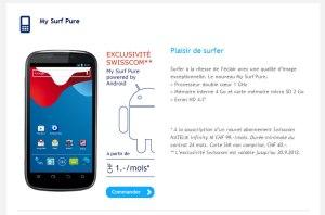 My Surf Pure: l'Android de Swisscom.