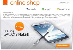 Orange propose déjà le Galaxy Note II.