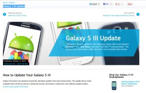 Galaxy SIII avec Jelly Bean: la page officielle de Samsung.