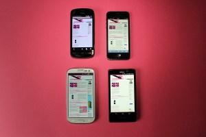 En haut: le Nokia 808. à gauche, et l'iPhone 5. En bas, le Galaxy SIII, à gauche, et l'Xperia T.