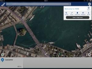 Here de Nokia sur iPad. Exemple à Genève.