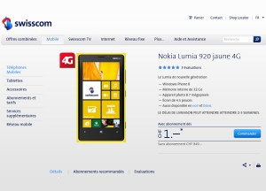 Le Nokia Lumia 920 en exclusivité chez Swisscom.