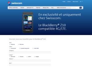Le BlackBerry Z10 en exclusivité Suisse chez Swisscom.