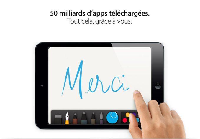 Plus de 50 milliards d'applications téléchargées sur l'App Store d'Apple.