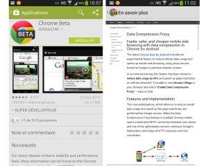 Chrome Bêta pour Android: encore plus rapide.