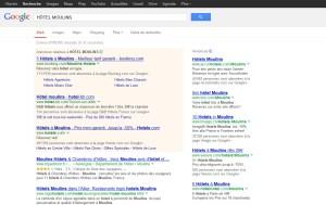 Google: plus de pub que de résultats de recherche sur cet écran!