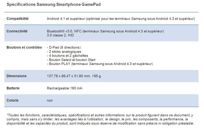 GamePad de Samsung: la fiche technique.