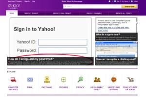 Le Centre de sécurité de Yahoo.