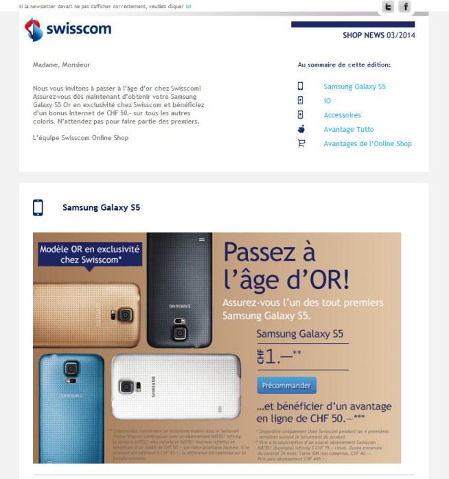 Swisscom commercialisera le Galaxy S5 en or en exclusivité pendant quatre semaines.