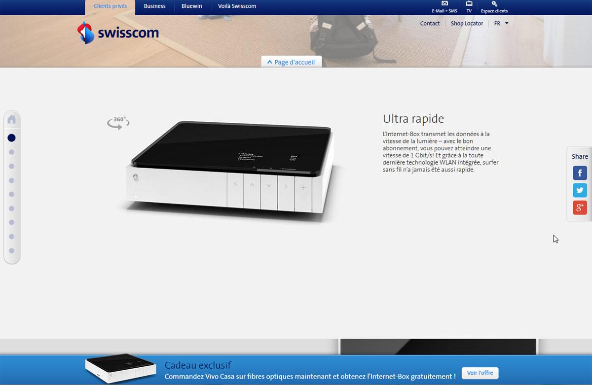 swisscom fait la promo de son internet box. Black Bedroom Furniture Sets. Home Design Ideas