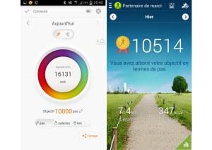Les données du BoomBand et celles du Galaxy S4.
