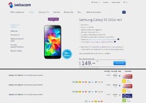 Le Galaxy s5 32Go sans abonnement: 969 francs chez Swisscom contre 749 francs sur toppreise.ch...