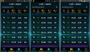Dans l'ordre: la 4G de Swisscom, Sunrise et Orange.