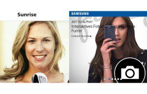Sunrise, Samsung: des unes très féminines...