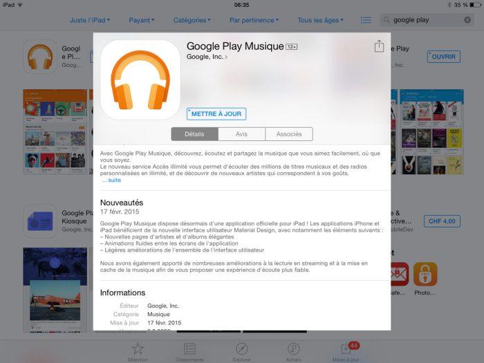 Google Play Musique débarque sur iPad.
