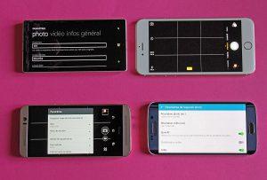 Nokia Lumia 930, Apple iPhone 6 Plus, HTC One M9 et Samsung Galaxy S6 Edge.
