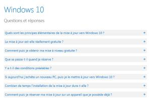 La FAQ de Microsoft sur Windows 10.