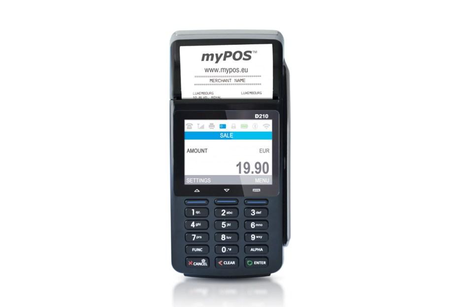 Le terminal de paiement par cartes My POS D210c de Be-Cash et Sunrise.