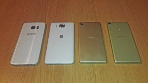 Samsung Galaxy S7, Lumia 950, Sony Xperia Performance et XA.