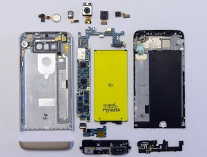 Un éclaté du LG G5.
