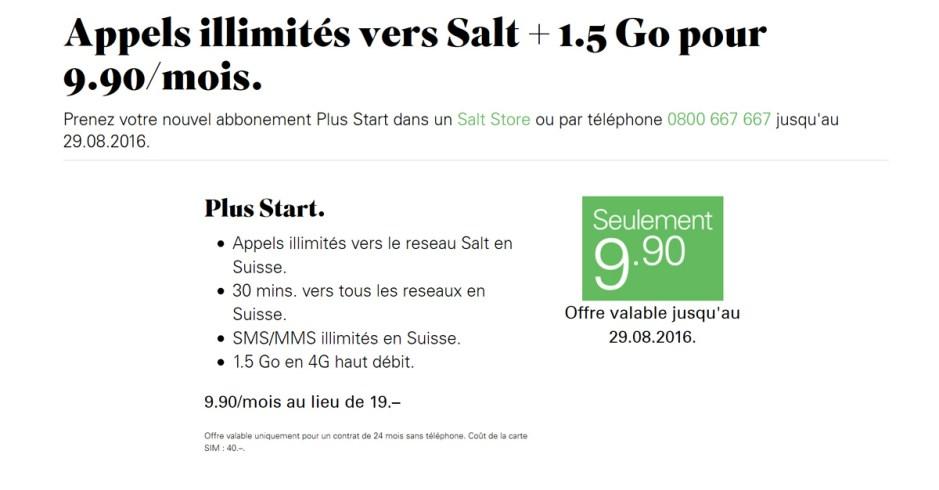 Salt casse les prix avec son offre Start à moins de dix francs par mois!