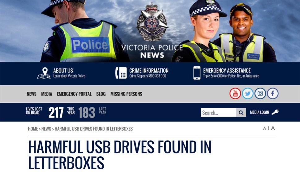 La police australienne met en garde contre des clefs USB piégées.